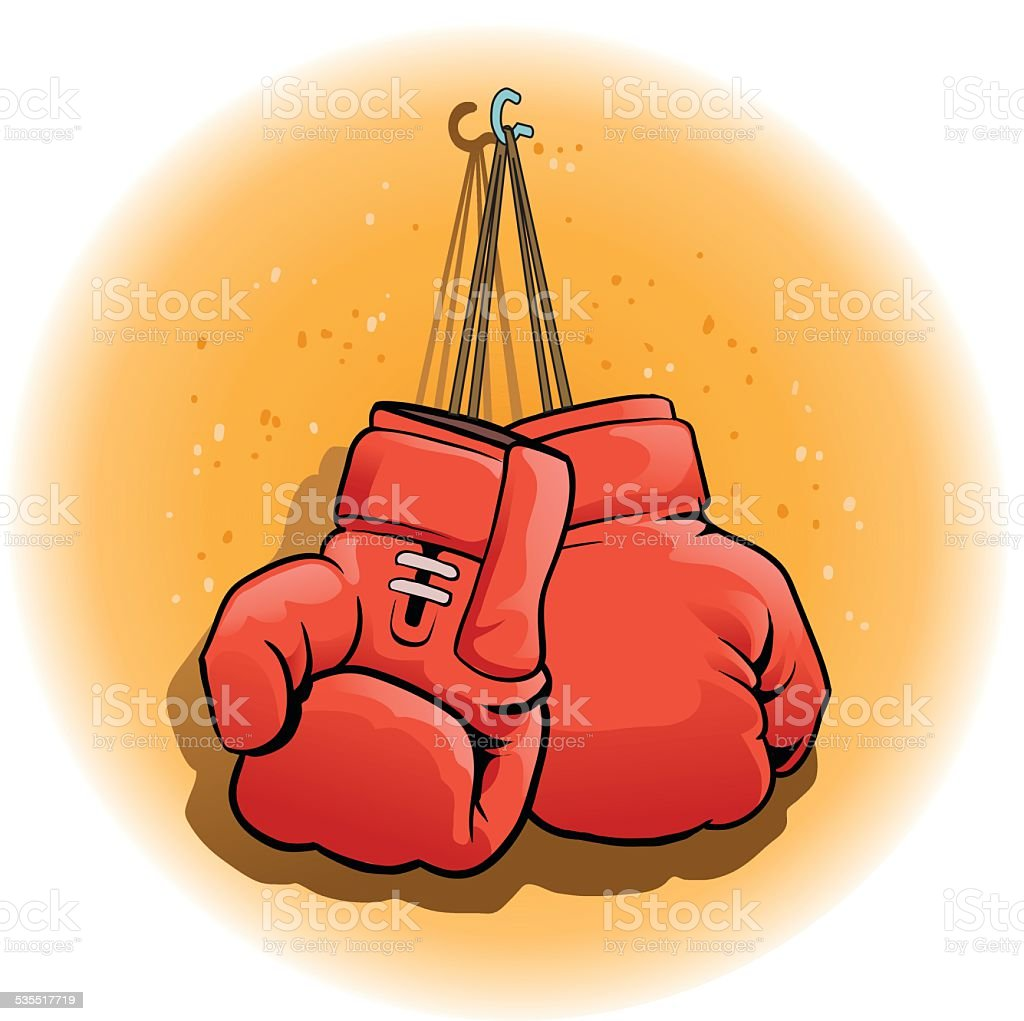 Pair of Boxing Gloves Hanging vector art illustration