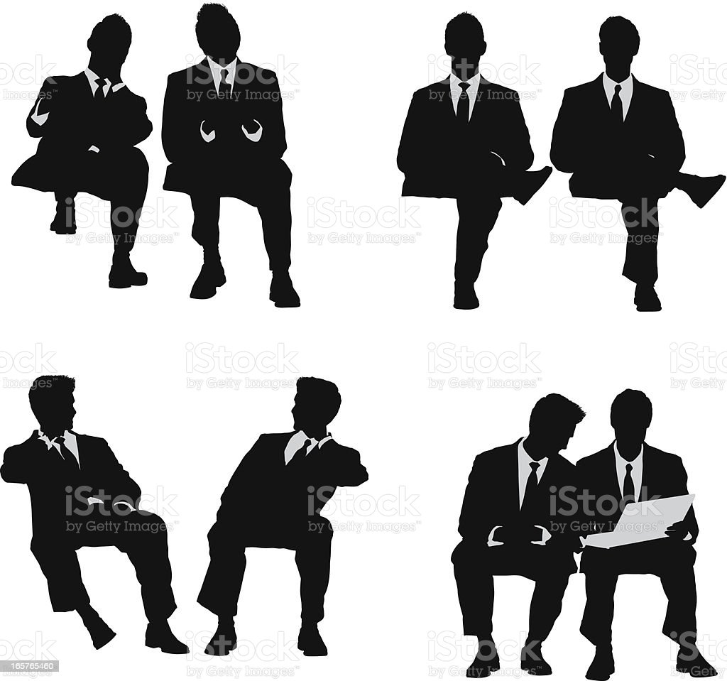 Pair of businessmen sitting vector art illustration