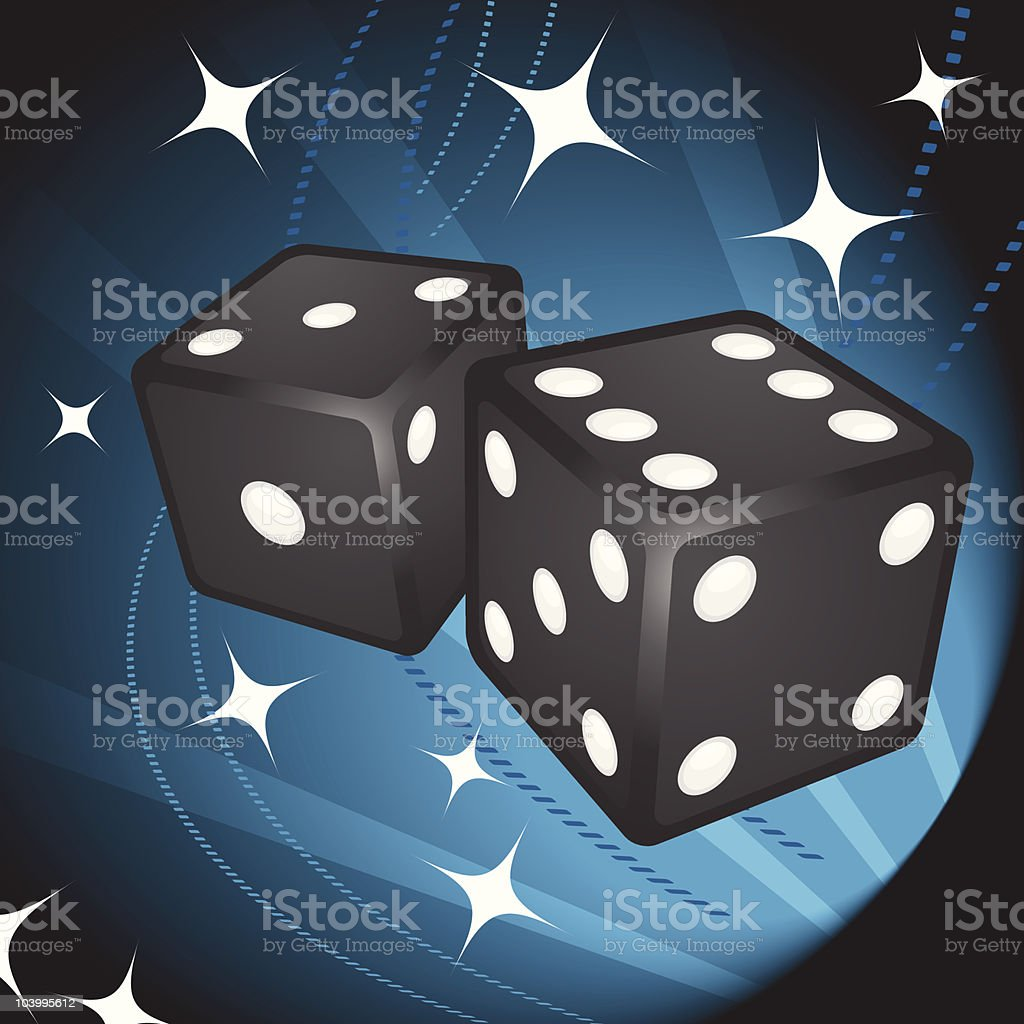 Pair of dice on decorative background royalty-free stock vector art