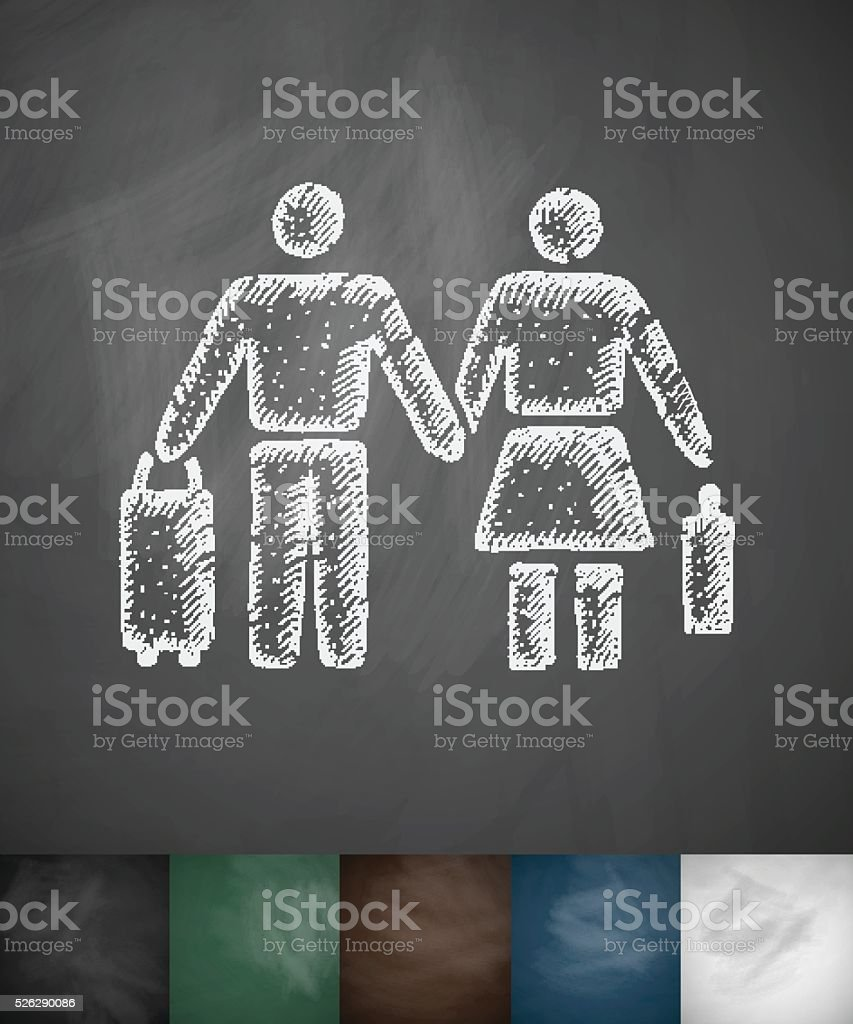 pair of emigrants icon. Hand drawn vector illustration vector art illustration