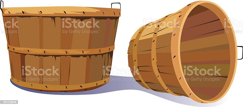 Pair of Empty Old Fashioned Farm Harvest Bushel Baskets vector art illustration