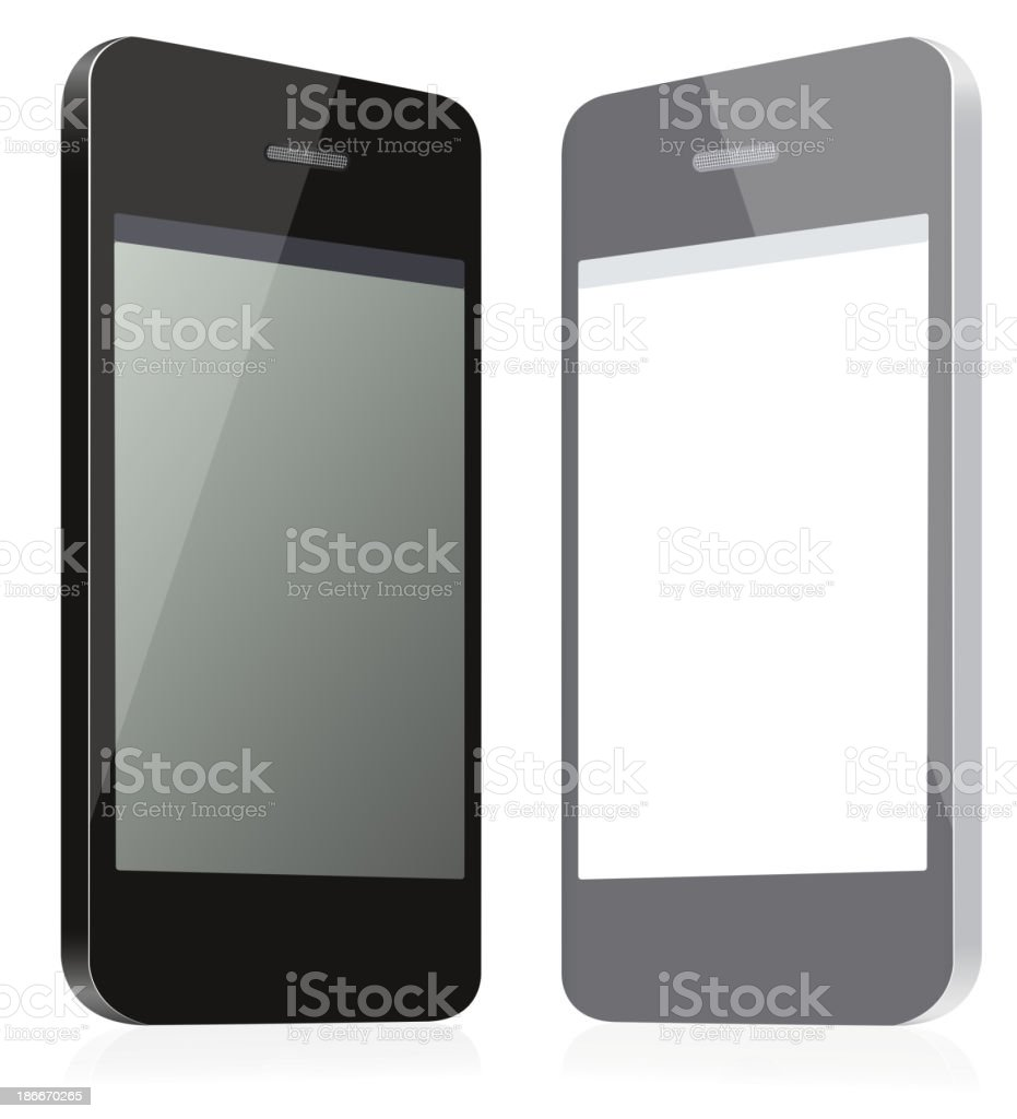 Pair of empty phones. Black and gray. royalty-free stock vector art