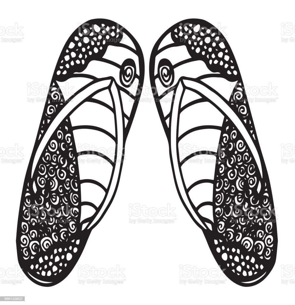 pair of flip flops drawing illustration single object flipflop