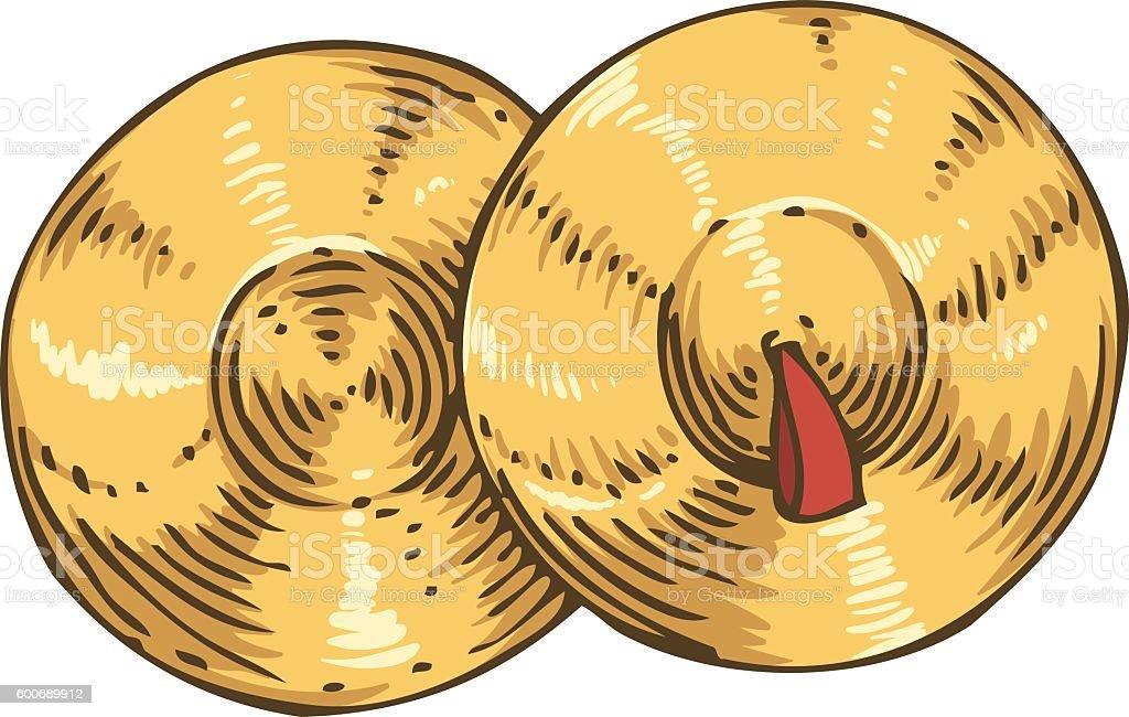 Pair of Golden Cymbal vector art illustration