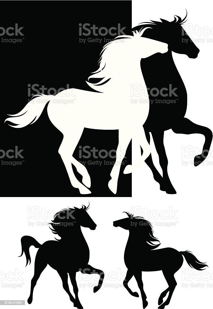 pair of horses vector art illustration