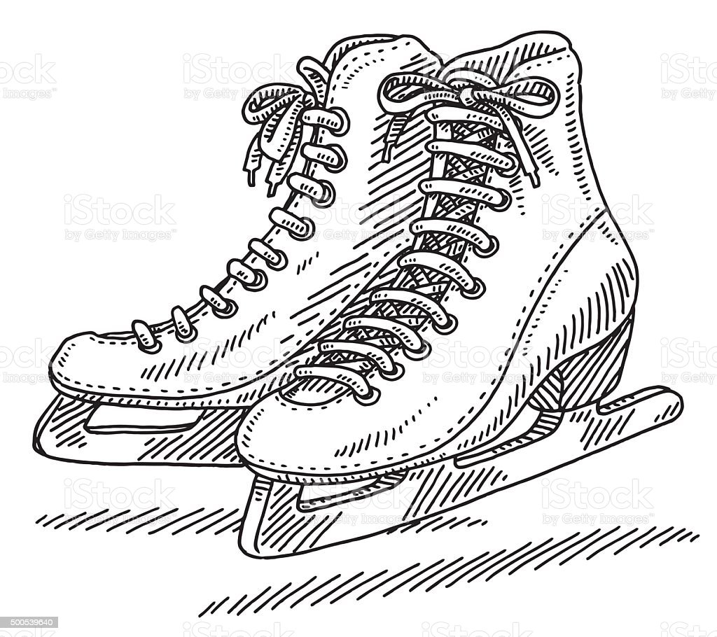 Pair Of Ice Skates Drawing vector art illustration