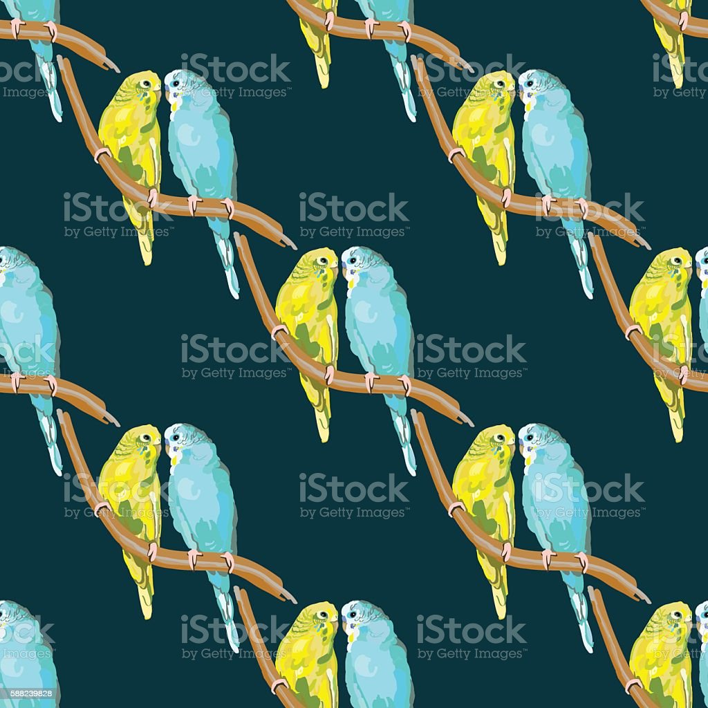 Pair of lovebirds agapornis-fischeri vector art illustration