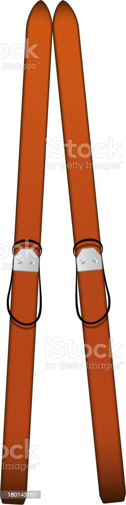 Pair of old wooden alpine skis royalty-free stock vector art