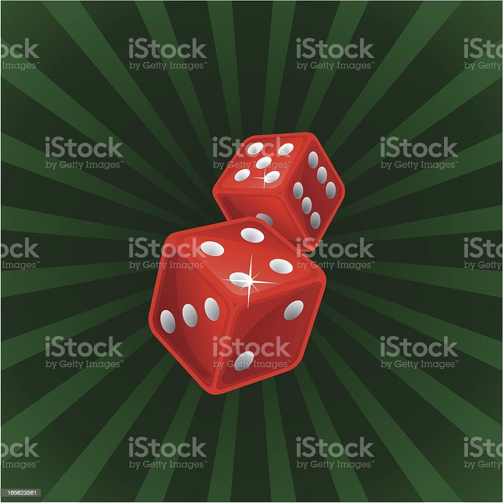 Pair of red casino dice royalty-free stock vector art
