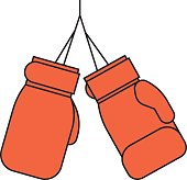 Pair of red leather boxing gloves vector.