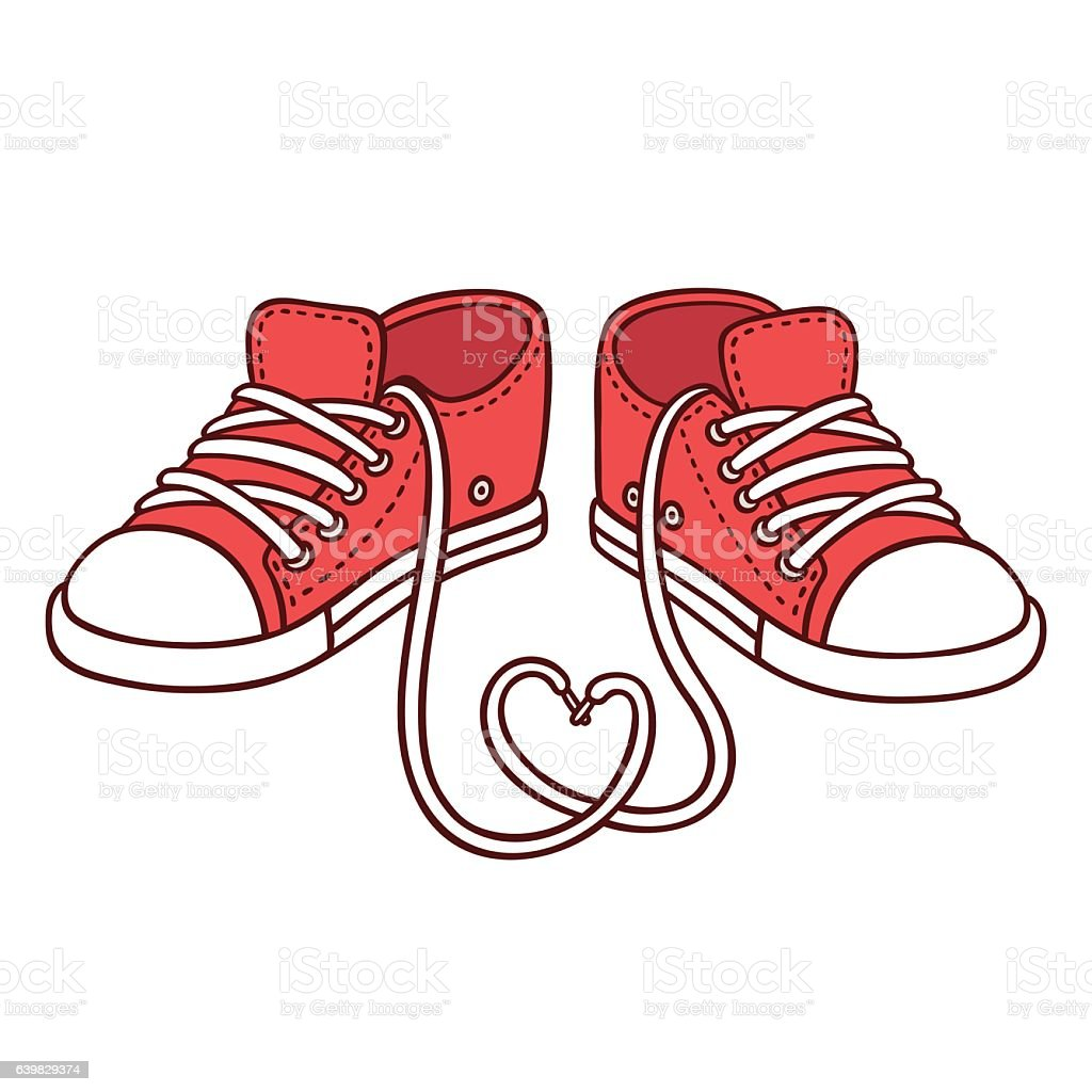 Pair of red sneakers vector art illustration