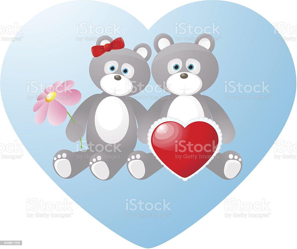 Pair of sweet bears for Valentine's day vector art illustration