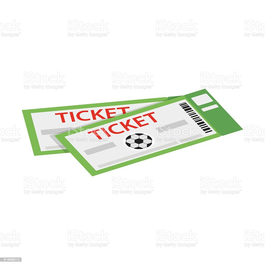 Pair of tickets for football isometric 3d icon vector art illustration