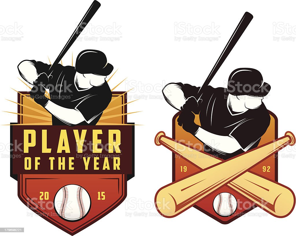 Pair of vintage baseball labels and badges vector art illustration