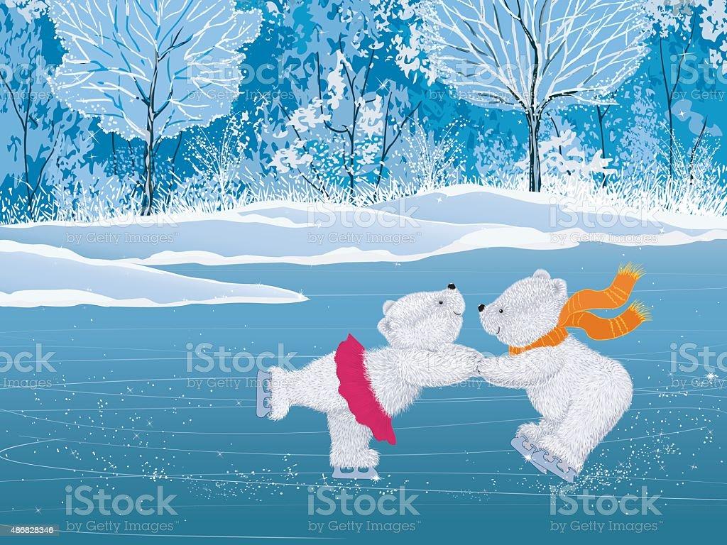 Pair of white fluffy skaters vector art illustration