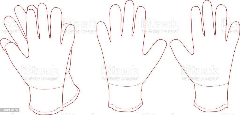 Pair of white working gloves. Contour vector art illustration