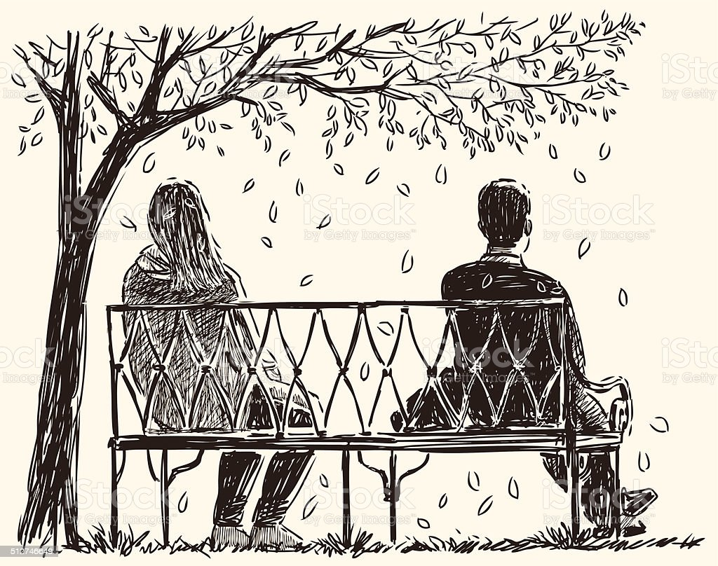 pair on the bench vector art illustration