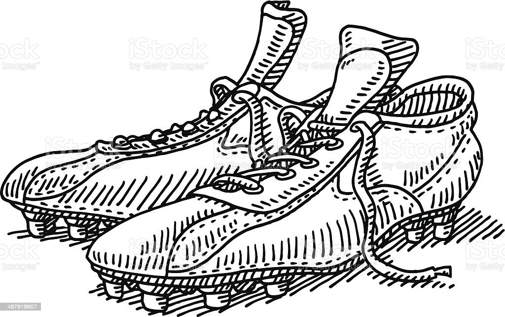 Pair Soccer Shoes Drawing vector art illustration
