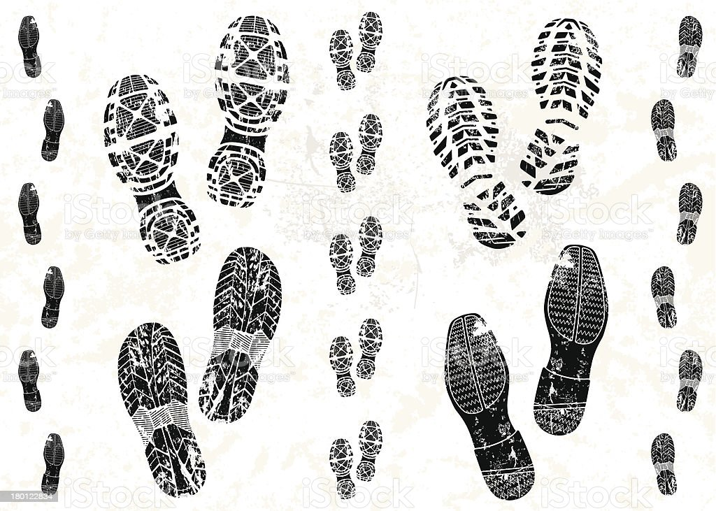 Pairs of shoe tracks vector art illustration