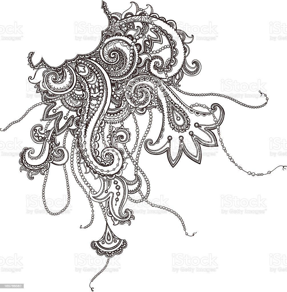 Paisley and Jewelry vector art illustration