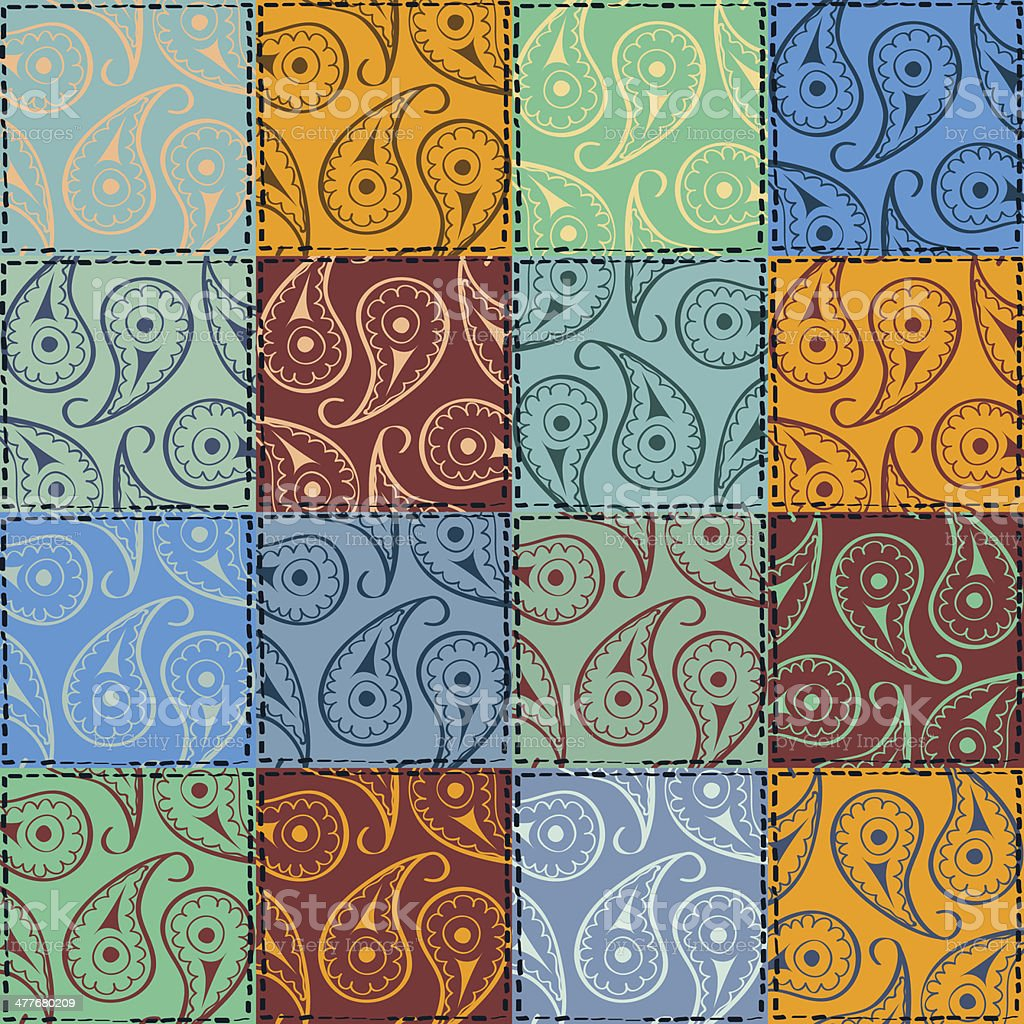Paisley seamless pattern of patchworks royalty-free stock vector art