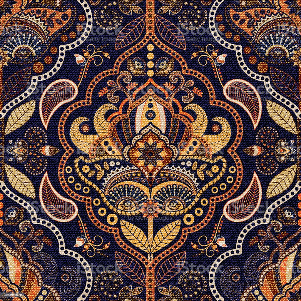 paisley seamless pattern vector art illustration