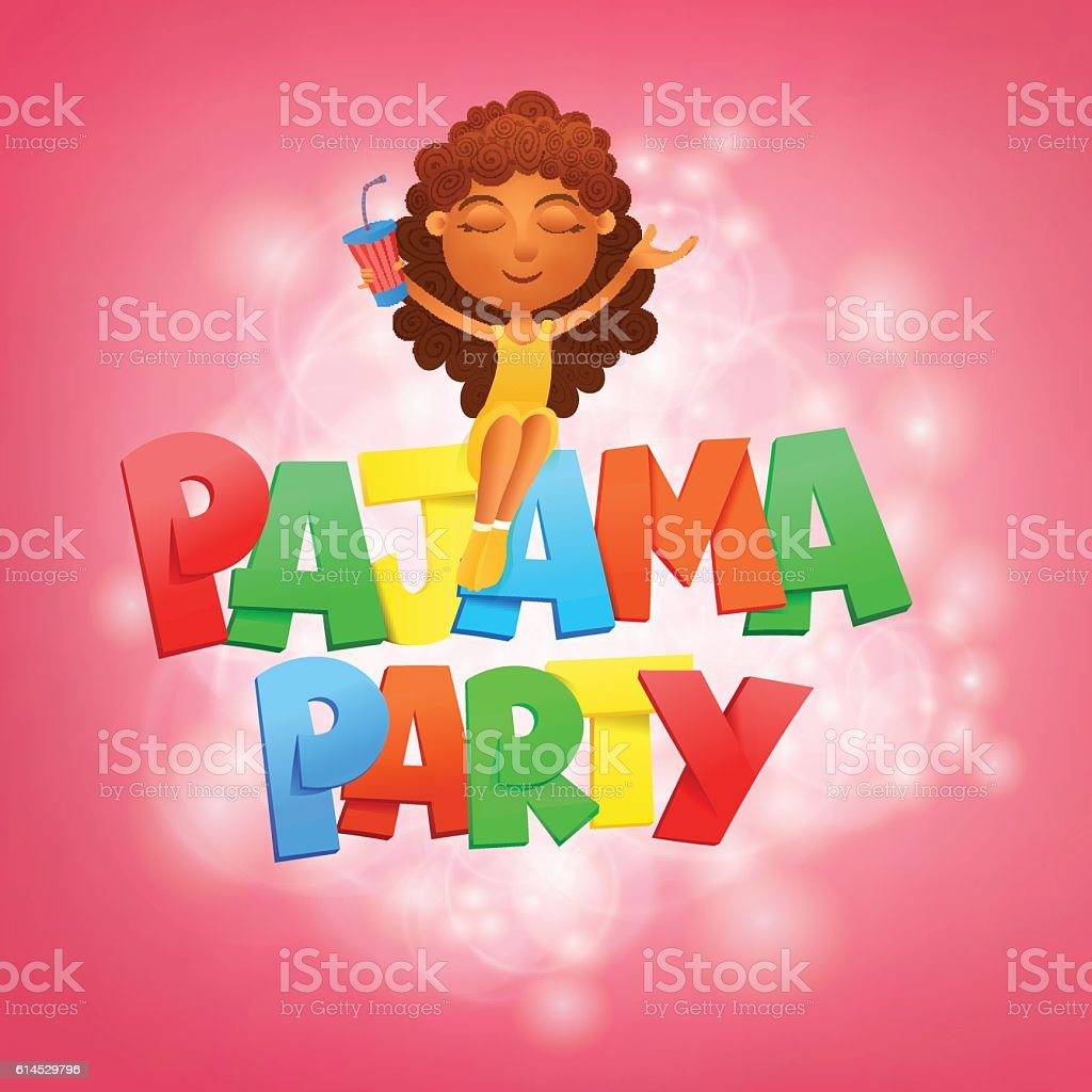 Pajama party lettering. Invitation card template with sitting gi vector art illustration