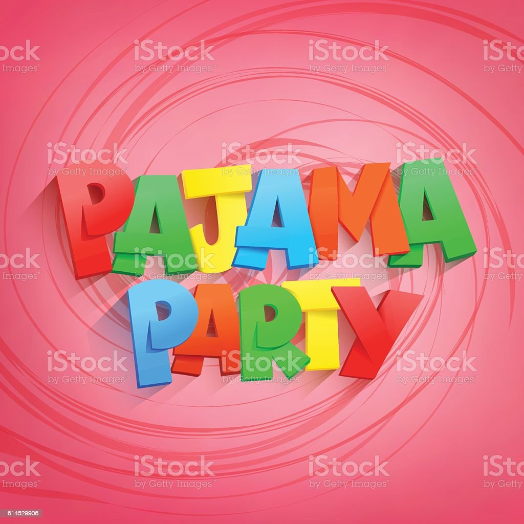 pajama party lettering title on pink background vector art illustration
