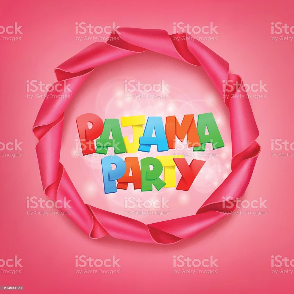 pajama party lettering with ribbon frame vector art illustration