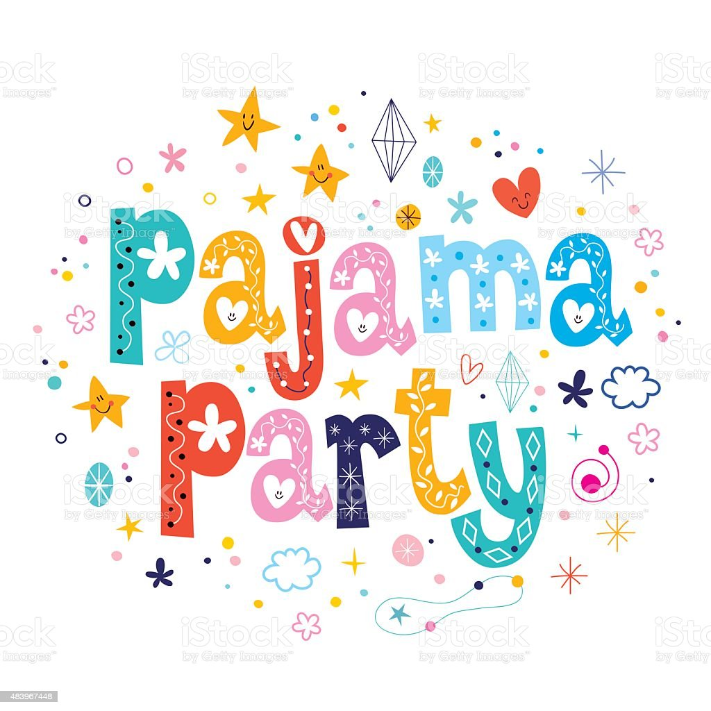 pajama party vector art illustration