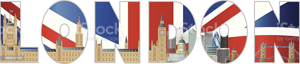 Palace of Westminster and London Skyline Text Outline Illustration royalty-free stock vector art