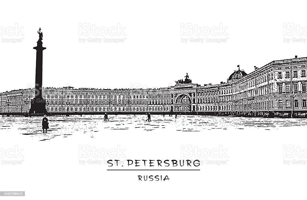 Palace square in Saint-Petersburg vector art illustration