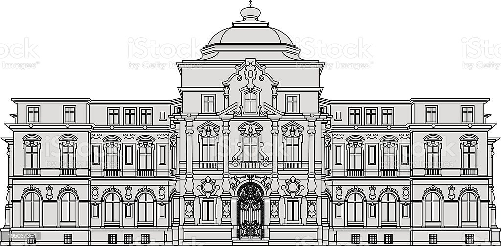 Palais Karlsruhe, historic building royalty-free stock vector art