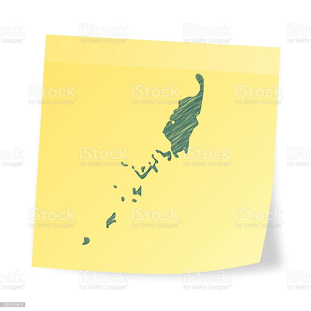 Palau map on sticky note with scribble effect vector art illustration