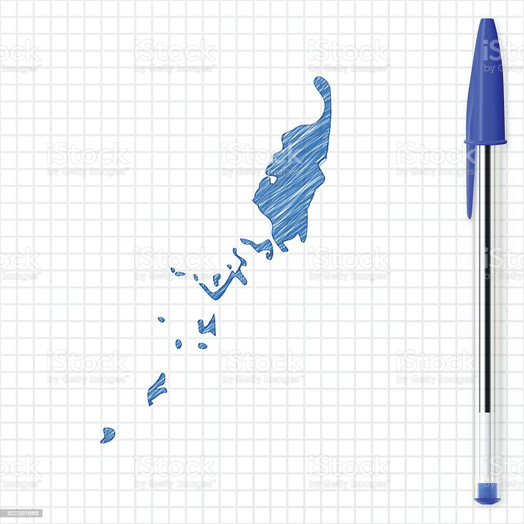Palau map sketch on grid paper, blue pen vector art illustration