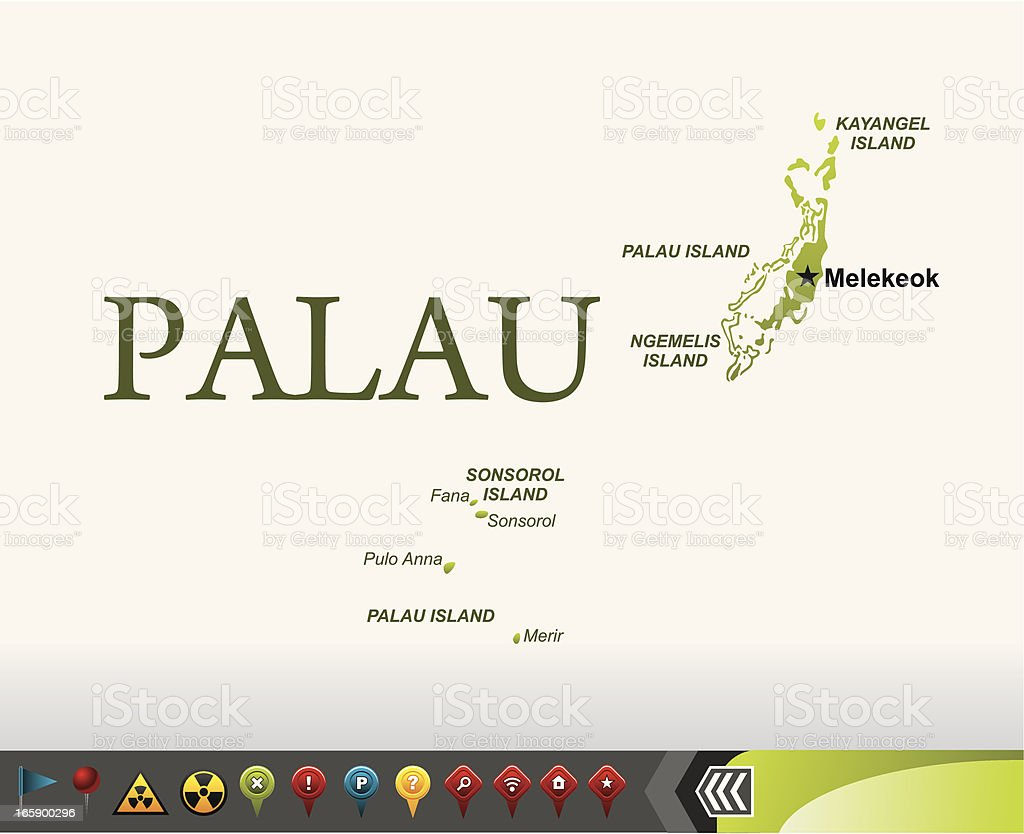 Palau map with navigation icons royalty-free stock vector art