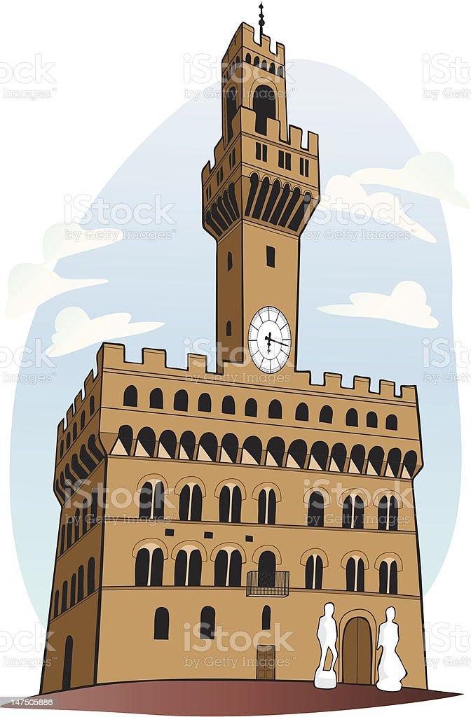 Palazzo Vecchio - Florence, Italy vector art illustration