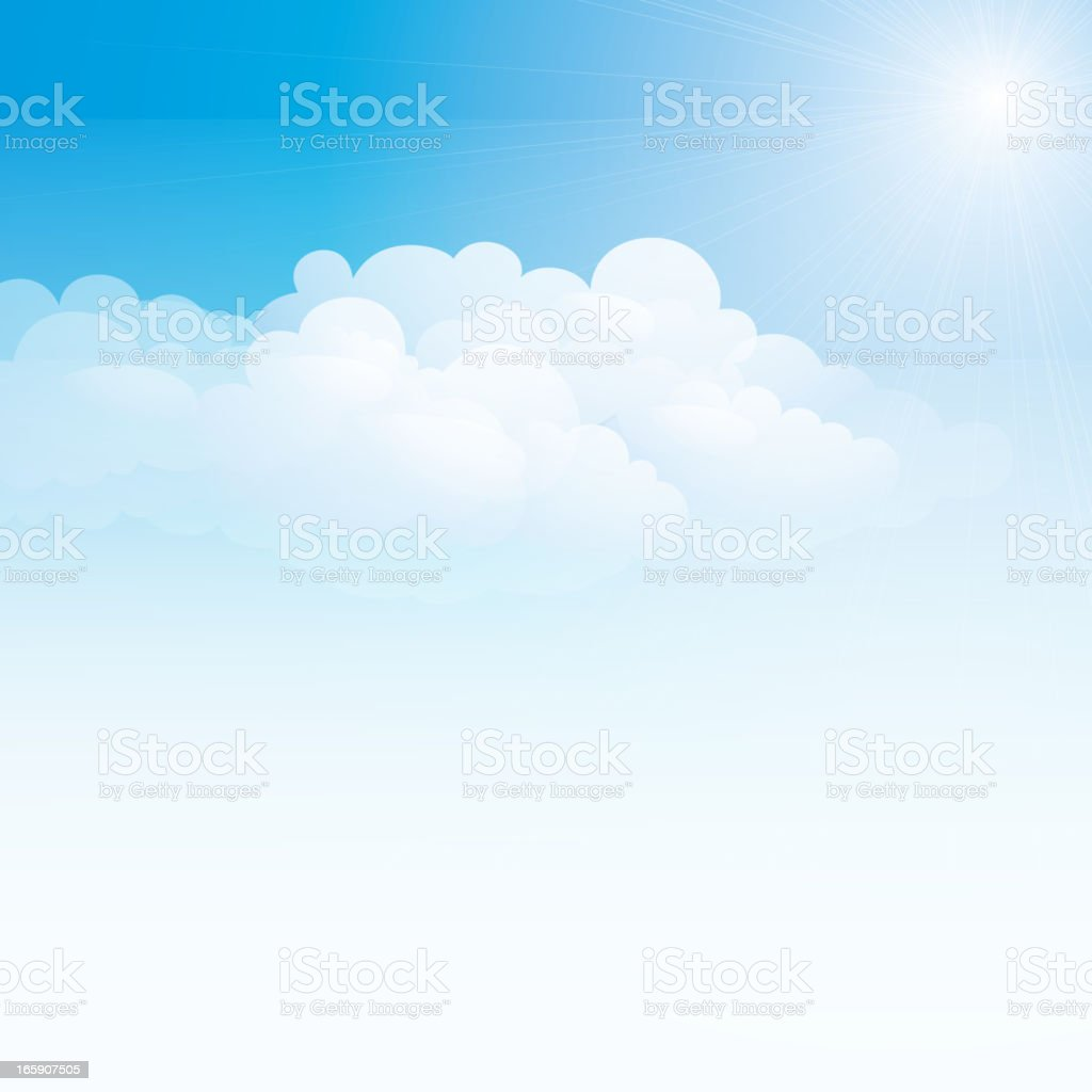 Pale blue sky and white clouds vector art illustration