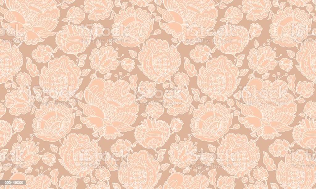 Pale color floral decorative seamless pattern inspired by Ukraine traditional embroidery. Two-color abstract flowers surface design for fabric, wrapping paper, print, background, wallpaper. vector art illustration