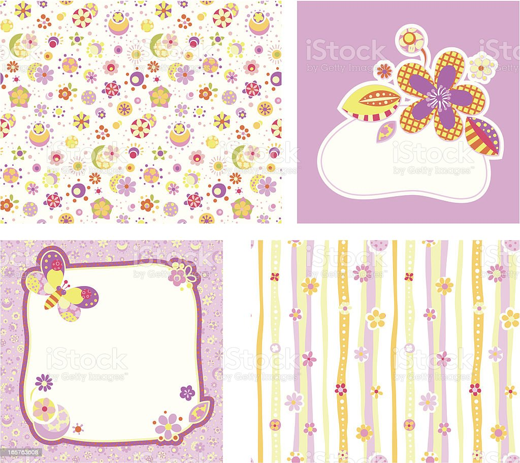 Pale purple set of design elements royalty-free stock vector art