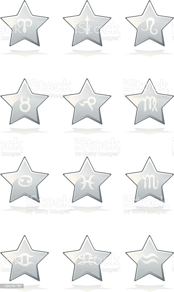 Pale Star Signs Zodiac Buttons royalty-free stock vector art