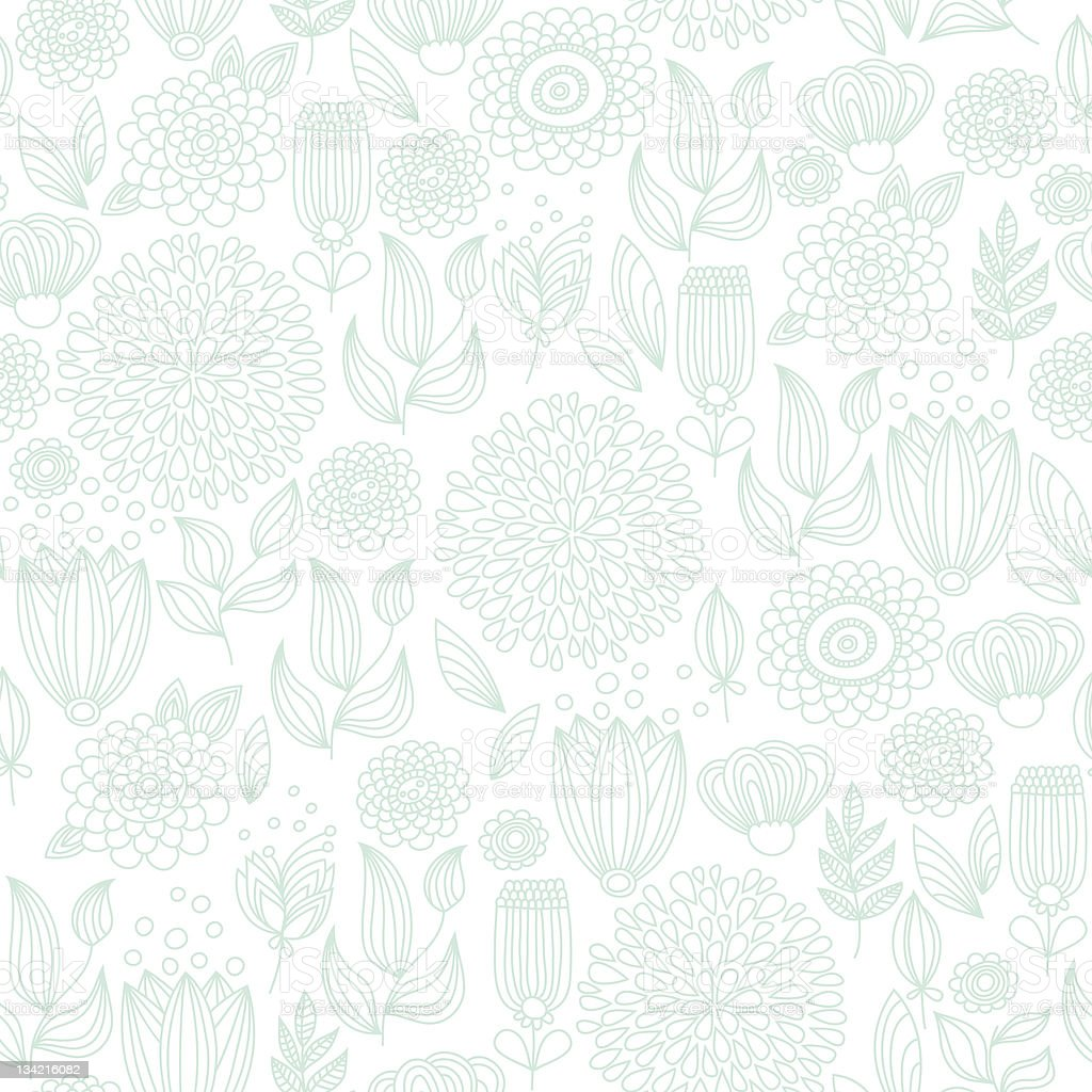Pale turquoise seamless floral pattern royalty-free stock vector art