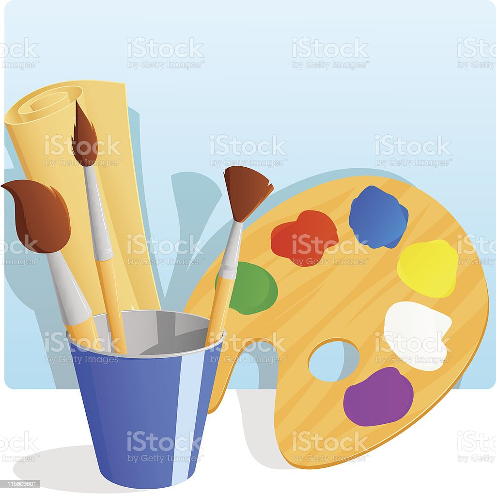 Palette with paint and brushes in bucket royalty-free stock vector art