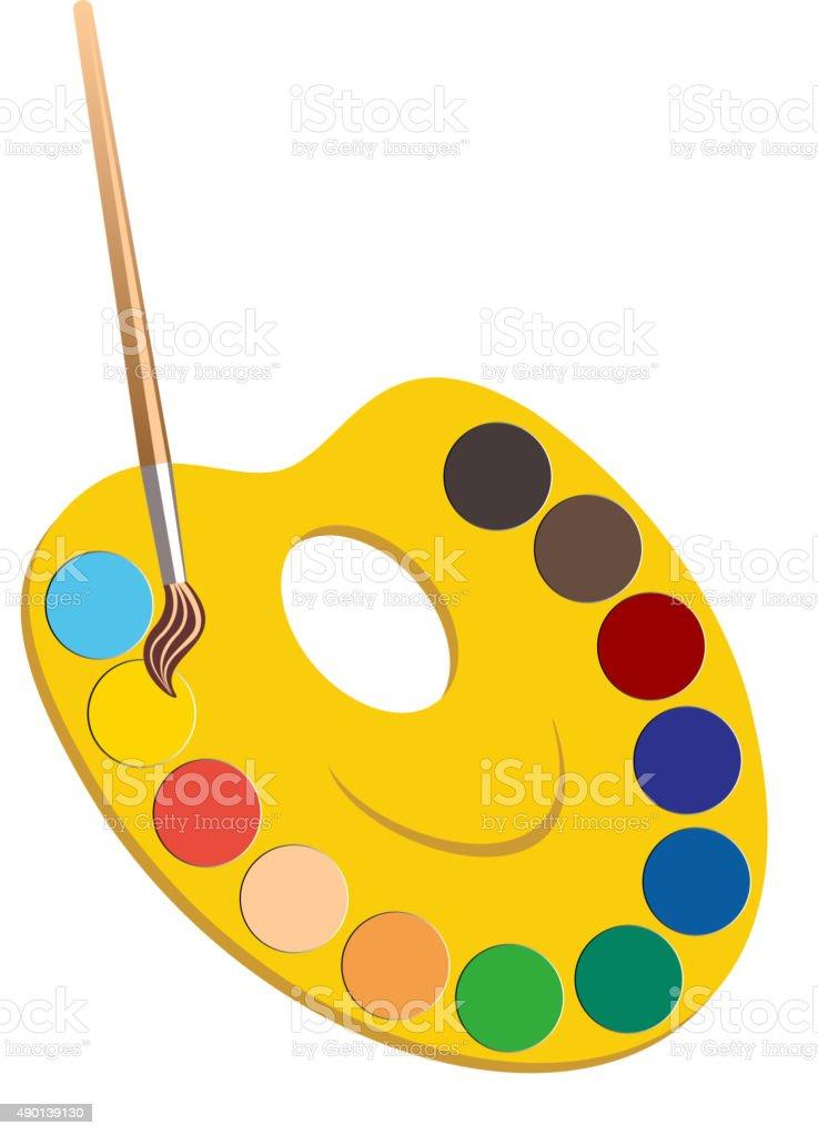 Palette with paints vector art illustration