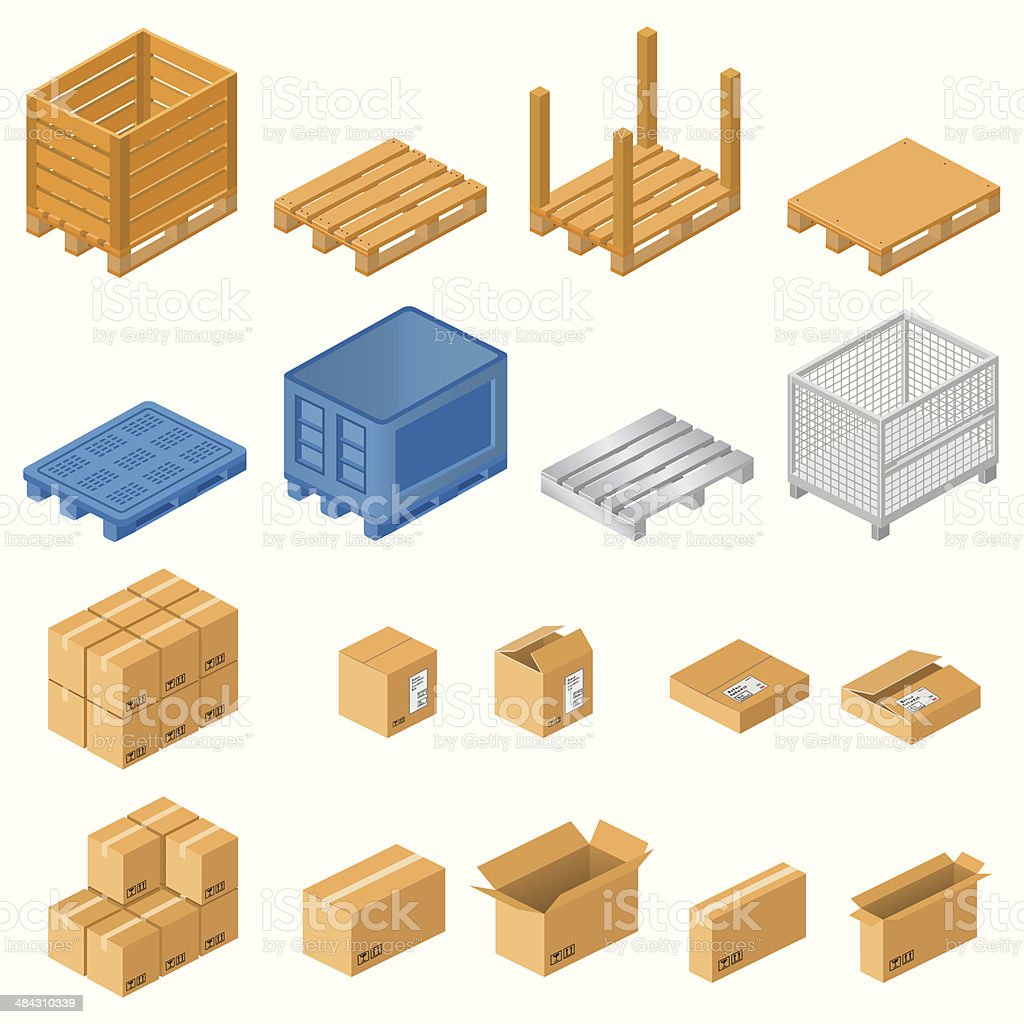 Pallets and boxes vector art illustration