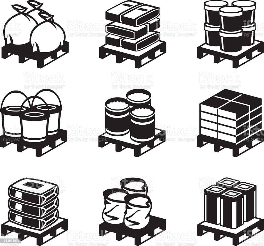 Pallets with building materials vector art illustration
