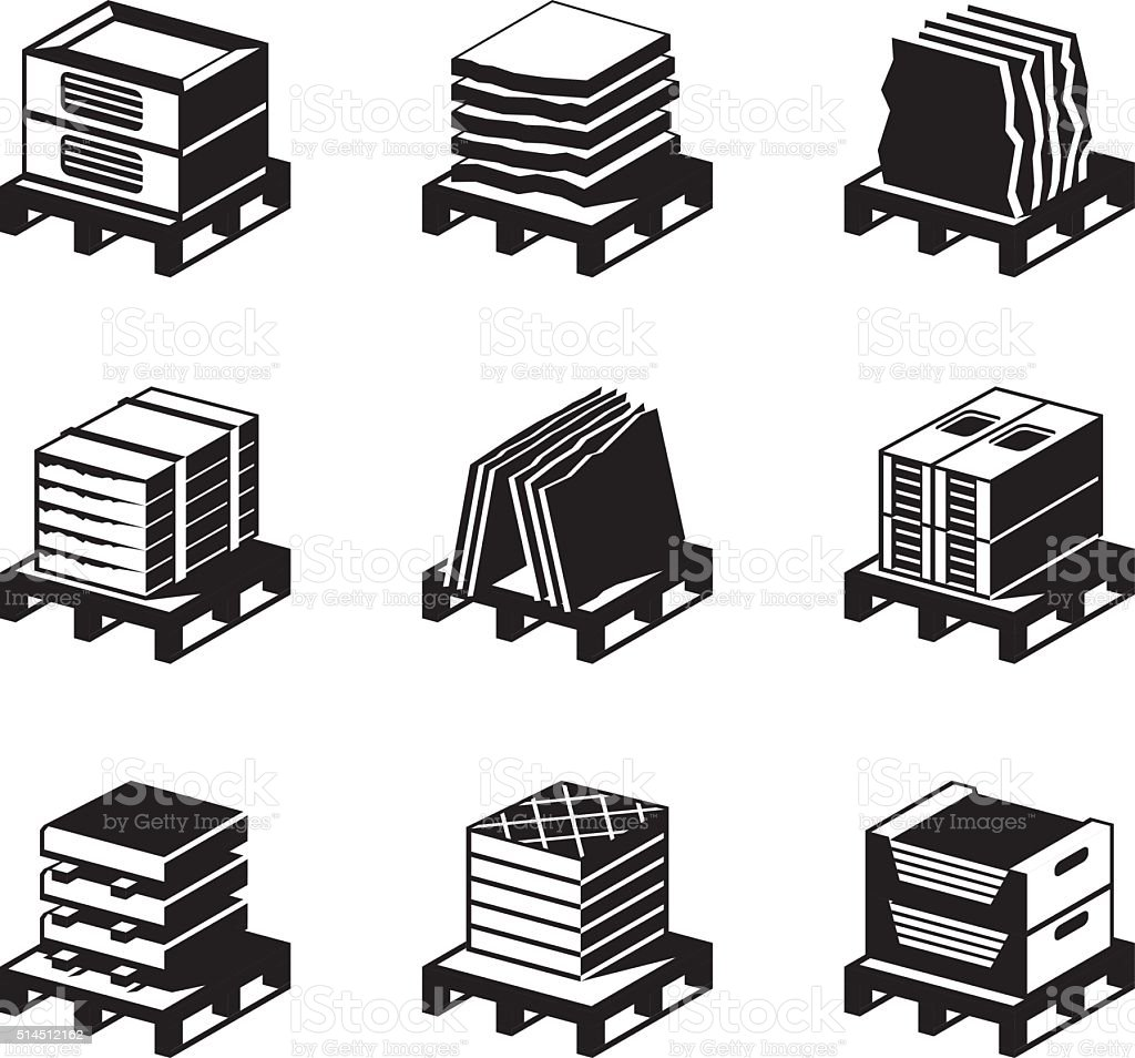 Pallets with tiles, granite and marble vector art illustration