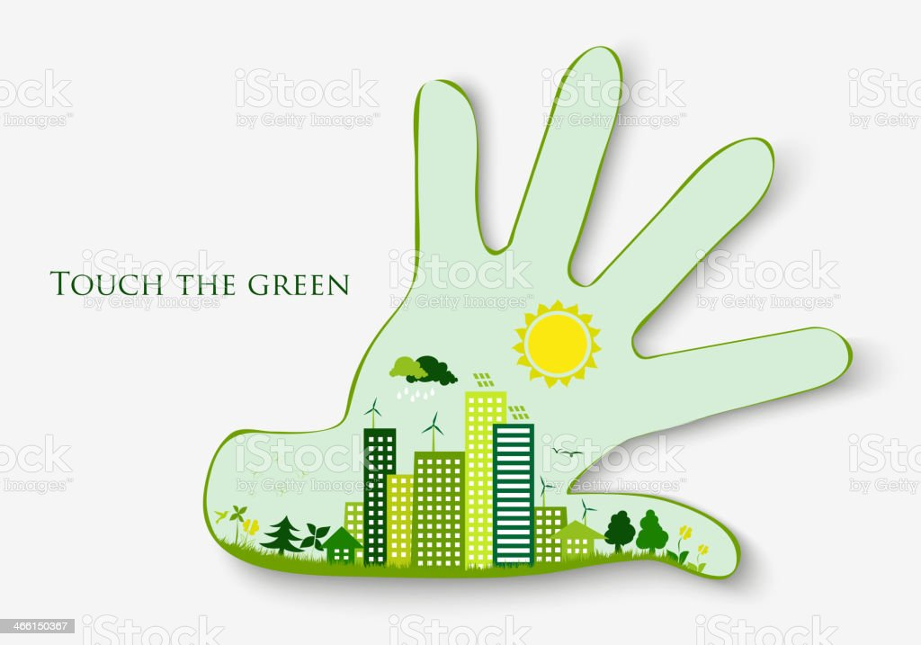 Palm and clean, green city royalty-free stock vector art