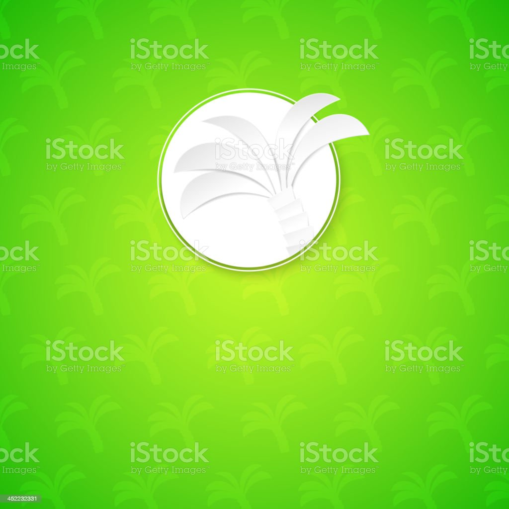 Palm background in label. royalty-free stock vector art