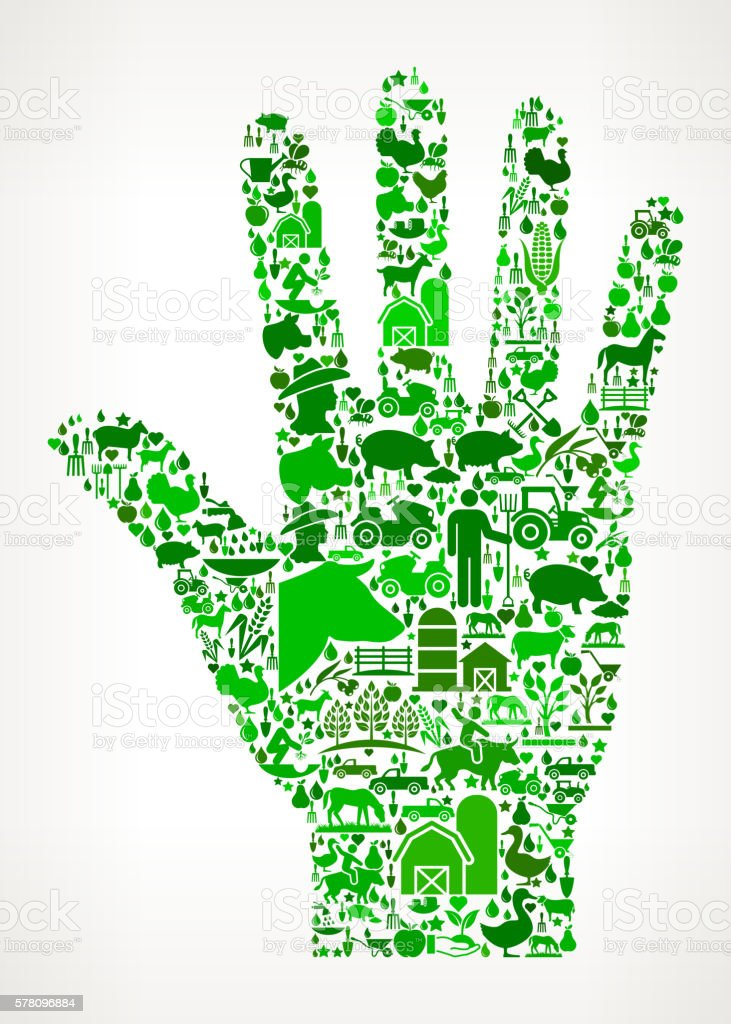 Palm Farming and Agriculture Green Icon Pattern vector art illustration